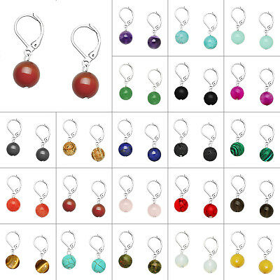 10mm Round Natural Stone Earring High Rhodium Leverback Enclosed Gift Box