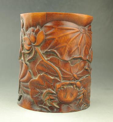 Chinese old  unique Exquisite  hand engraving Lotus and crab bamboo brush pot
