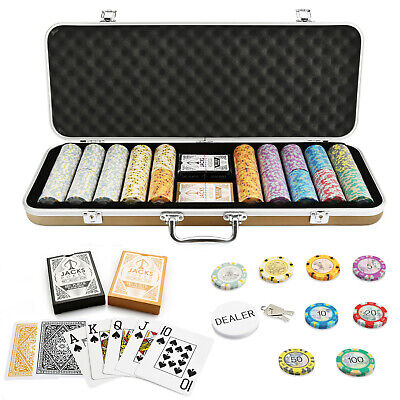 500 Chips Aussie Currency Poker Set Gold Case Plastic Cards Casino Any Combo