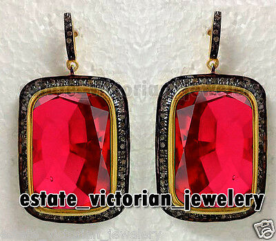 Antique Victorian 1.35Cts Rose Cut Diamond Ruby Sterling Silver Earring Jewelry