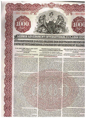 German Government International Loan (Young-Loan), 1930, 1000$  UNCANCELLED