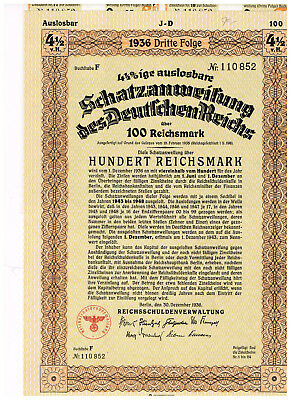 Deutsches Reich, Berlin 1936, treasury-note 100 RM, uncancelled/ coupons