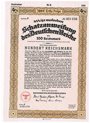 Deutsches Reich, Berlin 1937, treasury-note 100 RM, uncancelled