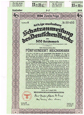 Deutsches Reich, Berlin 1936, treasury-note 500 RM, uncancelled/ coupons