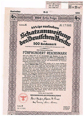 Deutsches Reich, Berlin 1937, treasury-note 500 RM, uncancelled/ coupons