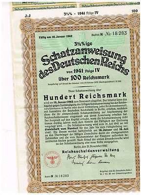 Deutsches Reich, Berlin 1941, treasury-note 100 RM, uncancelled/ coupons