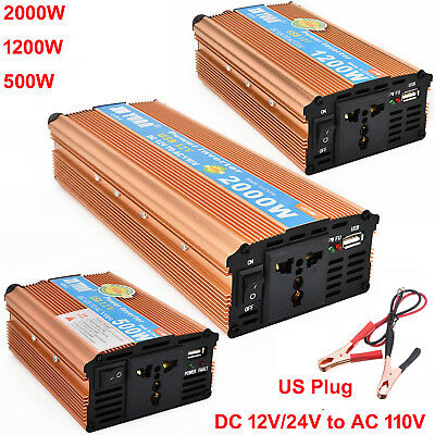 2000W WATT Car LED Power Inverter DC 12V To AC 110V Converter USB Charger w/Fan