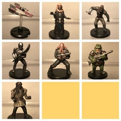 Star Wars Miniatures Figurine Lot Bundle x 7 Characters Collectables