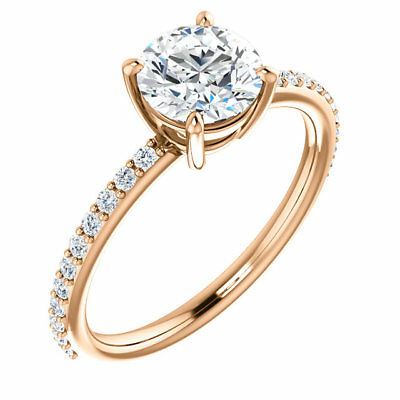 2.20 Ct Forever One DEF Round  Moissanite Engagement Ring With Diamonds 14K Rose