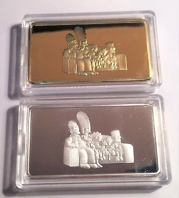 Set of 2 The SIMPSONS 1 Troy Oz Ingots Finished in 999 Fine Silver and 24k Gold