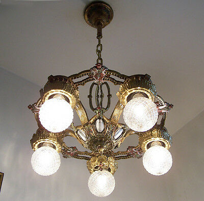 125b Vintage 20s 30s Ceiling Light  aRT Nouveau Polychrome Chandelier