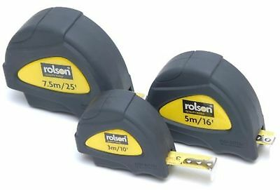 Rolson 3 piece Measuring Tape Set, 3, 7.5 & 10m, Rubber Casing, Auto Lock
