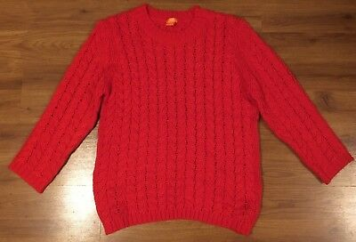 1c6cf1a7023 Joe Fresh Womens Bright Red Soft Chunky Cable Knit Sweater ~ Size XL