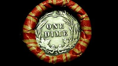 """Unsearched Crimped Roll w/ Sharp """"S"""" Barber Dime & AU 1903 Indian!"""