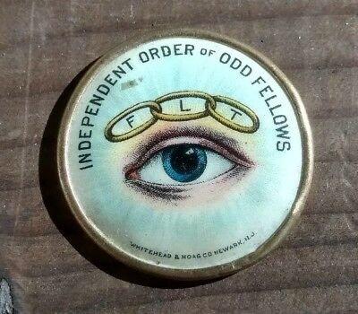 FLT Odd Fellows All Seeing Eye celluloid disc