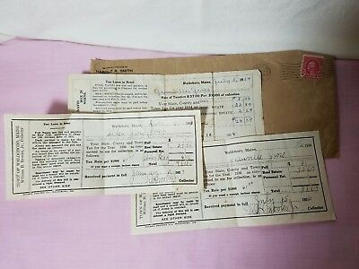 1934,36,37 Tax Receipt Town Of Waldoboro, Maine William H Brooks Jr Collector