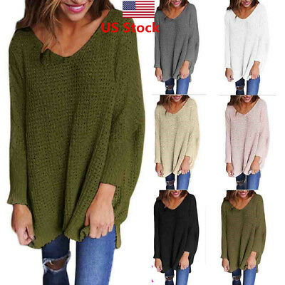 US Fashion Autumn Winter Dress Womens V-Neck Loose Knitted Baggy Sweater Outwear