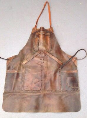 Vintage Leather Apron Welding, Blacksmith, Farriers Heavy Duty. Collectable