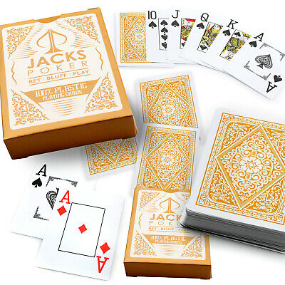 Jacks Poker 100% Plastic Playing Cards 1 Gold Single Deck Jumbo Index New