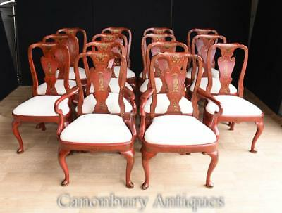 Set 14 Chinese Red Lacquer Dining Chairs Chinoiserie