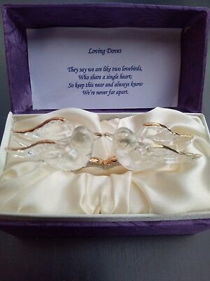 Art Glass Loving Doves Decor Gift in gift box