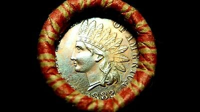 Unsearched Shotgun Roll w/ UNC 1882 & 1908-? Indian Head Cents Showing!