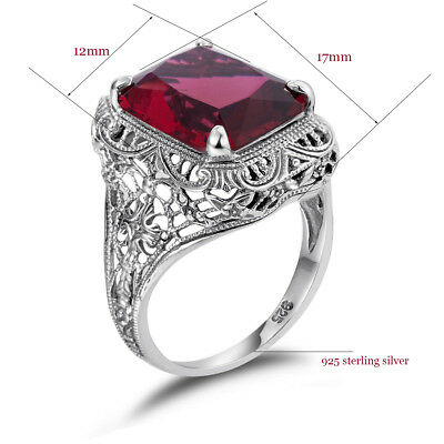 Ruby Vintage 925 Sterling Silver Handmade Rings Women Antique Ring Hollow Red