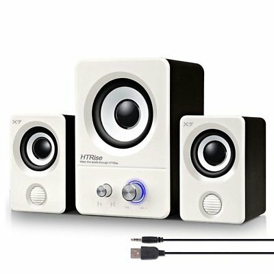 2.1 Multimedia Speaker System Computer PC Desktop Laptop Subwoofer Bass WHITE