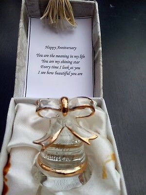 Art Glass Anniversary Bell Decor Gift in gift box