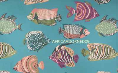 Tropical Island Chic Fish Motif Heavy Weight Woven Upholstery Fabric Bty