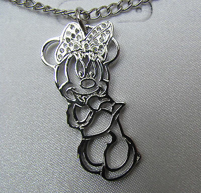 Disney Genuine Pendants Necklace  Silver, Minnie Mickey mouse Tinkerbell Bambi