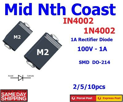 2/5/10pcs x 1N4002 IN4002 M2 TOSHIBA SMD DO-214 100V 1A Rectifier Diodes