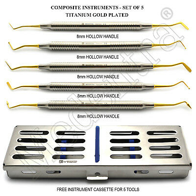 Gold Titanium Restorative Dental Composite Filling Instruments 5pcs + Cassette