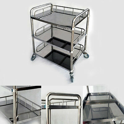 Clinic Station Shelving Tray Cart Medical Dental Trolley 3 Layers 50*40*86cm FS