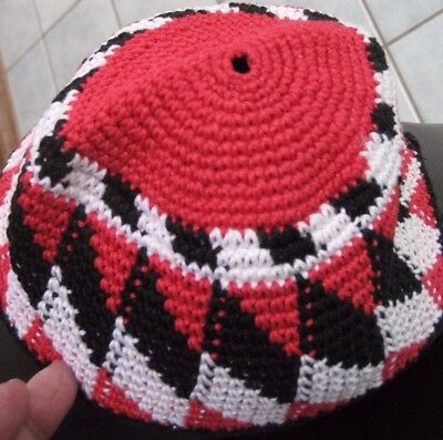 Ethnic-unused-bought in Egypt 1980's-beanie/scull style hat crotchet -Blk/Red/Wh