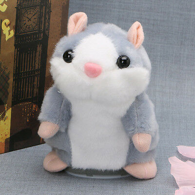 Cute Talking Nod Hamster Mouse Record Chat Mimicry Pet Plush Toy Xmas Gift GREY