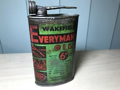 VERY RARE 1930s VINTAGE WAKEFIELD CASTROL EVERYMANS OIL CAN