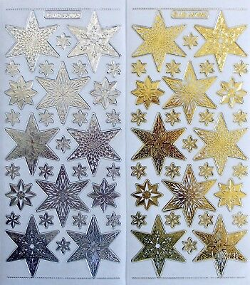 Double Embossed on Clear Stars CHRISTMAS PEEL OFF STICKERS Star Different Sizes
