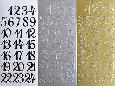 25mm 2.5cm 1 - 24 Advent Numbers PEEL OFF STICKERS Number Numerals Fancy