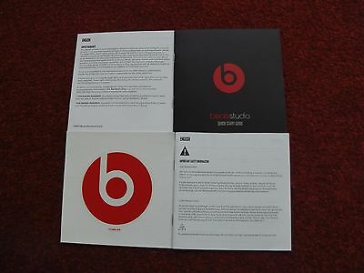 Dr Dre Beats Studio Quick Start Guide Instructions Safety Information Booklet