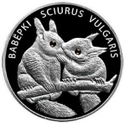 Belarus 2009 TWO SQUIRRELS Silver Proof Coin with Swarovski crystals
