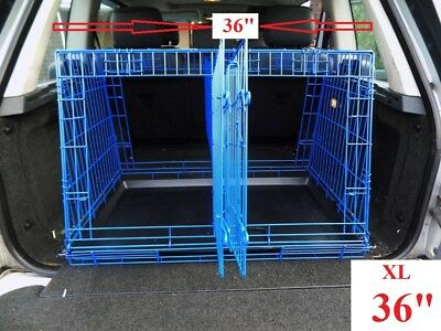 "Xl 36"" Car Boot Folding / Sloping Dog Cage, For Dog / Puppy Etc,, 4 Doors,"