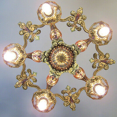 137b Vintage 20s 30s Ceiling Light  aRT Nouveau Polychrome Chandelier 1 0f 2