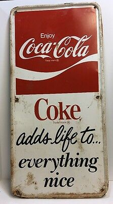 Original Vintage Rare Enjoy Coca-Cola Metal Sign