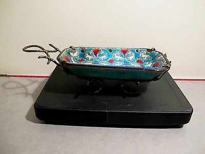 FRENCH LONGWY ENAMEL SAVOURY DISH WITH GILT BRONZE BAMBOO STAND. MID 19th.C