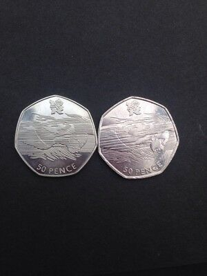 Aquatics Olympic 50P With Lines Across Face 2011 Pair Collectable