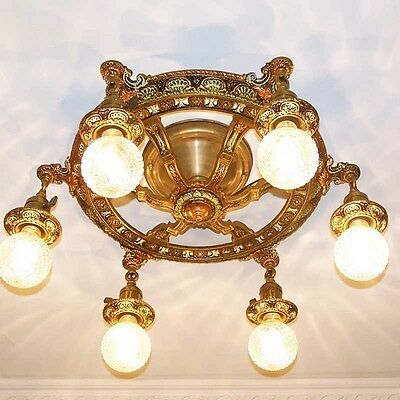 876 Vintage 20s 30s Ceiling Light lamp fixture art nouveau polychrome chandelier