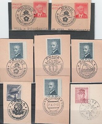 Czechoslovakia 1947 Selection of Postmarks on Pieces