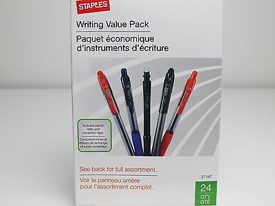 Pens Pencils 24 Pack FREE Lead Eraser Refills Correct Tape Staples Writing Value
