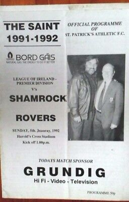 St Patricks Ath V Shamrock Rovers 5/1/92 L.o.i. Geoge Best Featured In Programme